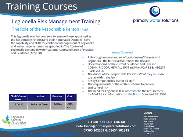 Upcoming Legionella Role of the Responsible Person Training in Staffordshire