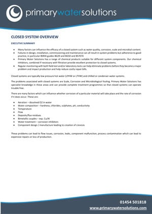 CLOSED SYSTEM OVERVIEW